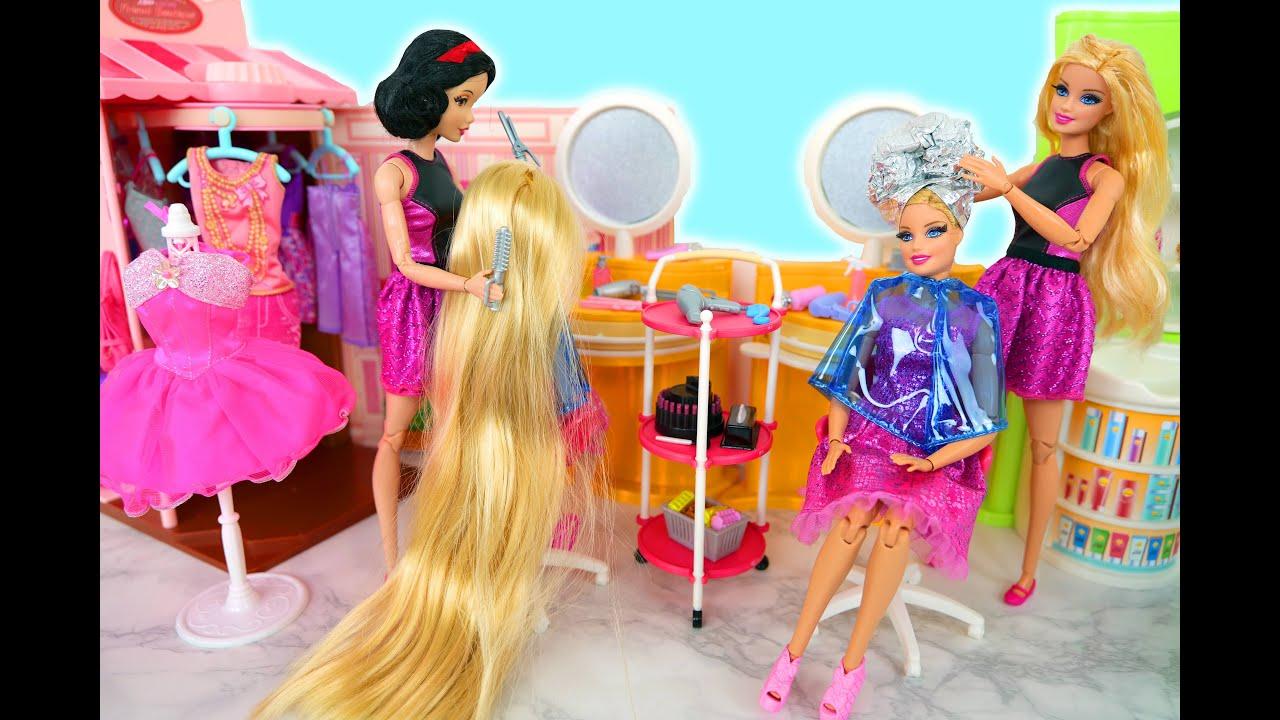 Barbies went to Hair Salon & New Clothing Store Friseur Cabeleireiro Toko pakaian Poupée لعبة باربي