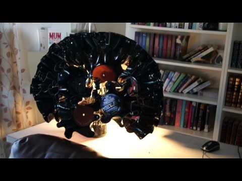 Recycled lamp: old records