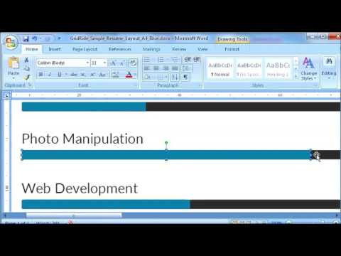 How to customize resume template bar chart in Microsoft Word - #4 of 11 @ Customizing bar chart