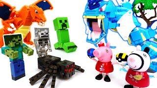 Minecraft Monster Alert~! Gyarados, Charizard Fight The Monsters - ToyMart TV