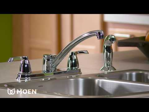 Adler Chrome Two Handle Low Arc Kitchen Faucet With Optional Knob Or Lever Handles