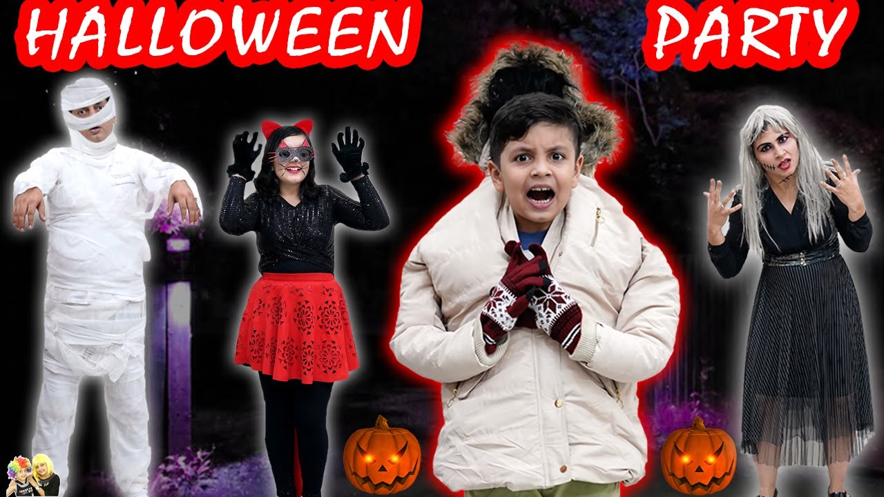 HALLOWEEN PARTY with family   Makeup and party ideas   Family Comedy   Aayu and Pihu Show