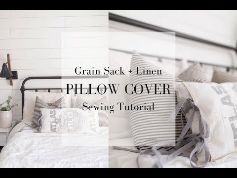 FARMHOUSE PILLOWS DIY| How to Sew a Pillow Cover from a Vintage Grain Sack
