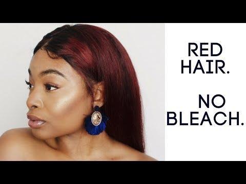 No Bleach! How To Dye Dark Hair Red!