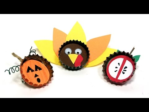 Fall Bottle Cap Pins & Magnets! Craft for Kids!