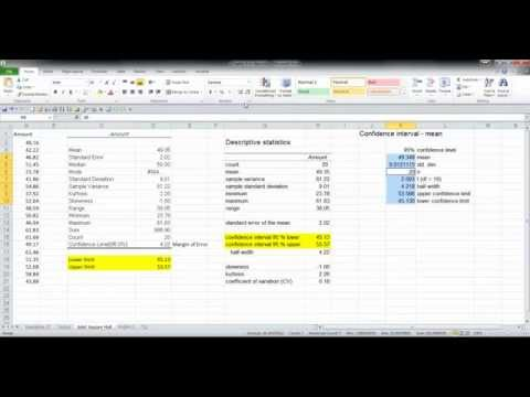 Confidence Interval Estimates using Excel Data Analysis Toolpak and Megastat