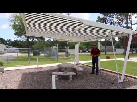 Freestanding + Retractable Awning shade structure. Installable anywhere in a yard!