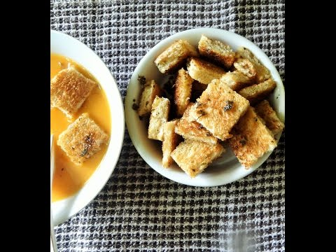 Home Made Croutons- No Oven Required | Bread Croutons Recipe