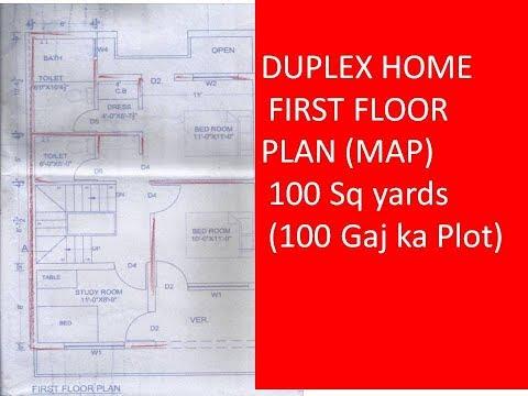 DUPLEX HOME FIRST FLOOR PLAN (MAP) 100 Sq yards (100 Gaj ka Plot)