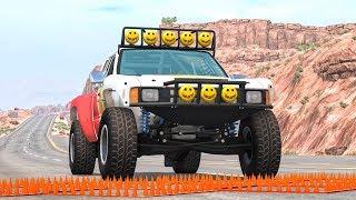 Massive Spike Strip Pileup Crashes #16 – BeamNG Drive   CrashBoomPunk