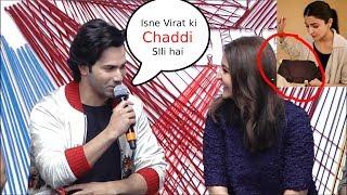 varun dhawan Making Fun of Virat Kohli In Front Of Anushka sharma sui dhaga trailer launch