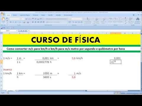 Curso de Física Como converter m/s para km/h e km/h para m/s metro por segundo e quilômetro por hora