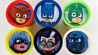 Learn Colors PJ MASKS Disney Jr. Owlette, Catboy, Gekko, Romeo Playdoh Toy Surprises / TUYC