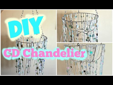 DIY Chandelier  - How to Make a Chandelier from Old CDs!! | Room Decor