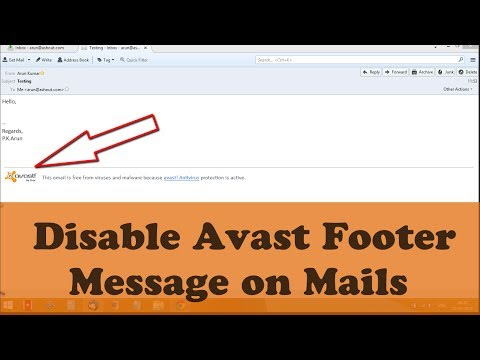 Disable Avast from Adding Footer Messages on Emails Automatically