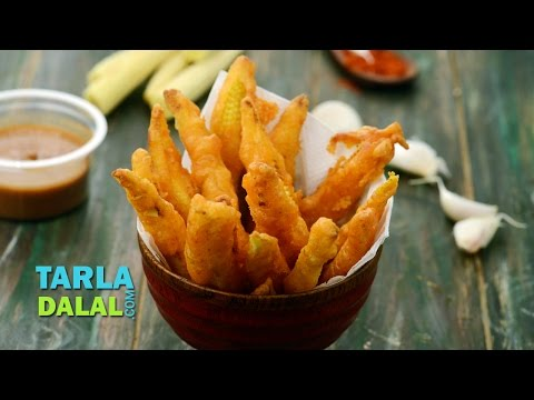 Baby Corn Fritters Recipe,  Fried Baby Corn Pakoda by Tarla Dalal