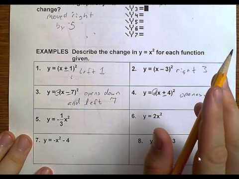 Algebra 1 (Topic 8-6) Graphing y = (x +- h)2