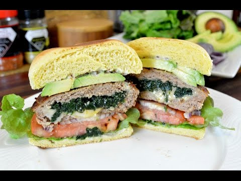 Spinach & Cheese Stuffed Turkey Burgers |Turkey Burger Recipe |Cooking With Carolyn