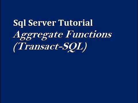 Aggregate Functions in SQL Server