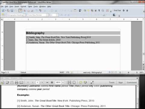 LibreOffice-Writer (41) Formatting a Bibliography