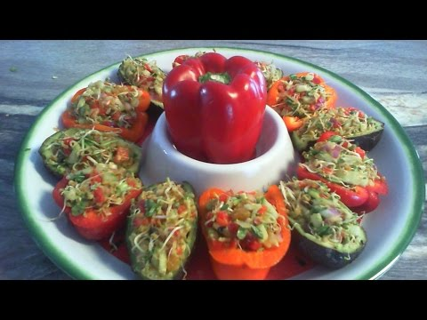 Sprout stuffed Avocado and Pepper, RAW VEGAN