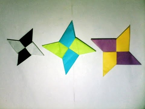 Origami Ninja Star 4 Point With One or Two Square Paper - Awesome and Easy