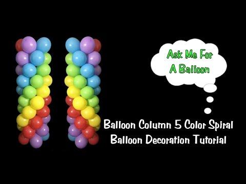 Balloon Column 5 Color Spiral No Stand - Balloon Decoration Idea/Tutorial