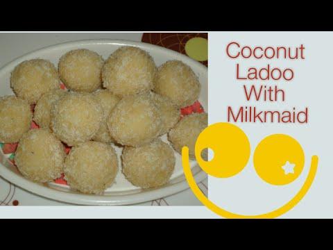 Coconut Laddoo With Milkmaid-quick easy dessert / Easy Coconut Ladoo Receipe