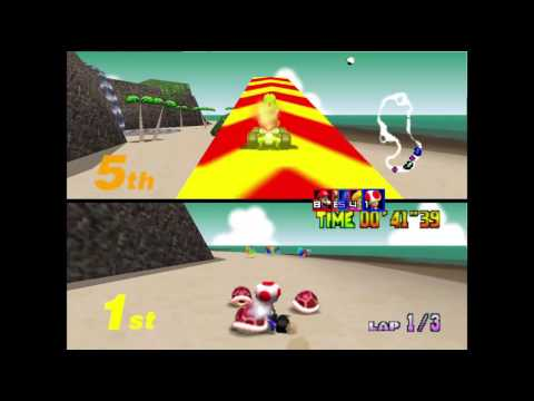 Mario Kart 64  Project-64 : Two Player Grand Prix Mushroom Cup 50cc
