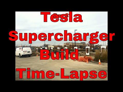 Tesla Supercharger Time Lapse Build-out Oak Creek, WI 10 stalls