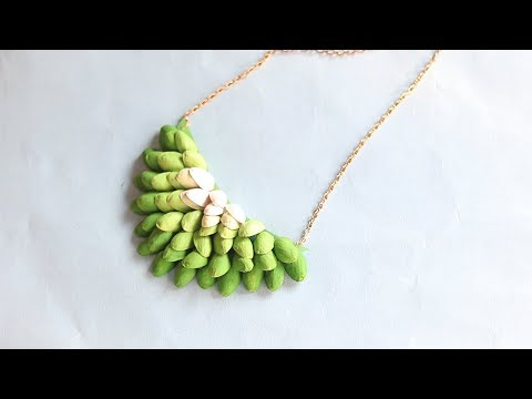 Easy  crafts using Pistachio Shells   DIY PISTACHIO SHELL NECKLACE  
