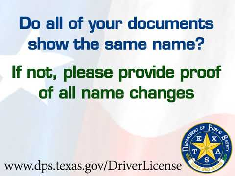 Texas Driver License Office - Proof of Name Change