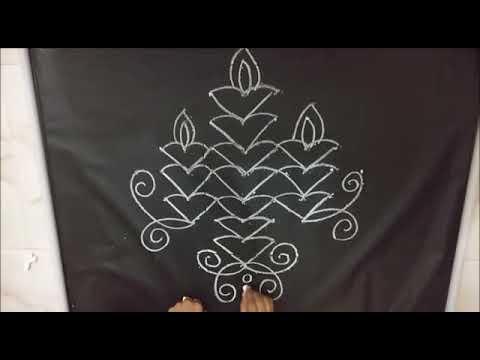 Simple Deepam Rangoli with Straight Dots 9x1