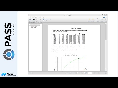 Sample Size Calculation for Tests for Two Proportions in PASS