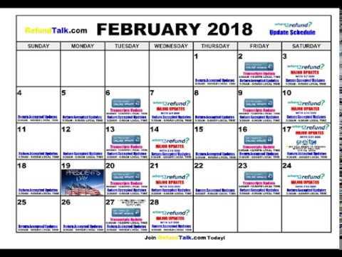 IRS Wheres my Refund? February 2018 Update Schedule