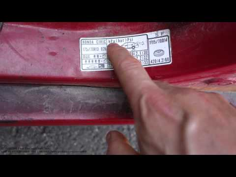 How  to read Honda tire and wheel air pressure info label