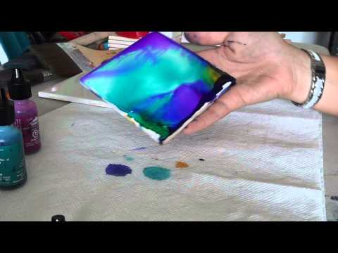 Alcohol ink tile coaster tutorial