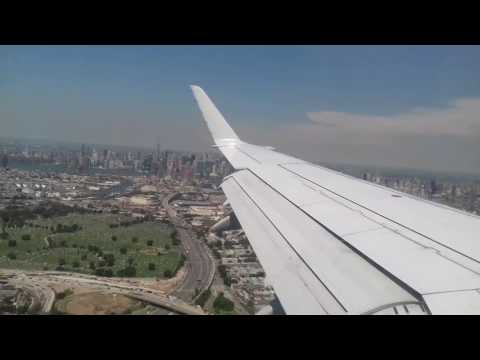 Landing American Airlines Embraer 190 Flying over NYC Manhattan Central Park into LGA Laguardia