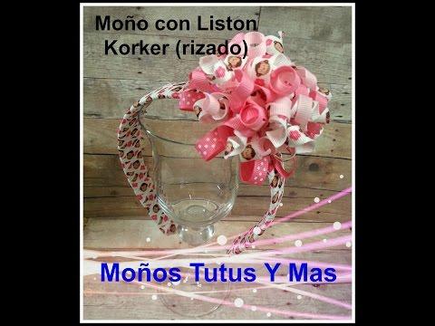 MOñO KORKER DE LISTON RIZADO Paso a Paso HOW TO MAKE KORKER BOW Tutorial DIY How To PAP Video 112