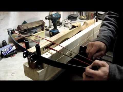 Homemade leaf-spring crossbow, ballesta casera con gatillo, Part 3
