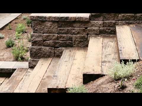 Recycled Railroad Tie Stairs and Allan Block Wall