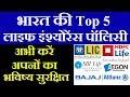भारत की टॉप 5 इंश्योरेंस पॉलिसी | Top 5 Insurance Policy | LIC,HDFC,Aegonlife,SBI Life,Bajaj Allianz