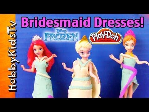 Disney FROZEN Anna, Ariel Play-Doh Dresses! HobbyKidTV