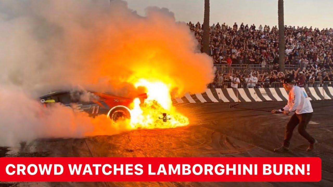 LAMBORGHINI CRASHES INTO WALL & BURST INTO FLAMES AT HOONIGAN BURNYARD