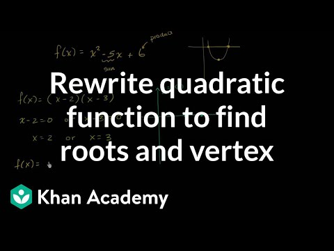 Rewriting a quadratic function to find roots and vertex | Algebra I | Khan Academy