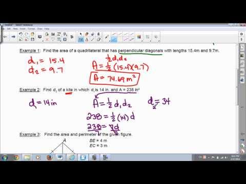 Area of Quadrilaterals with Perpendicular Diagonals Lesson 9 3