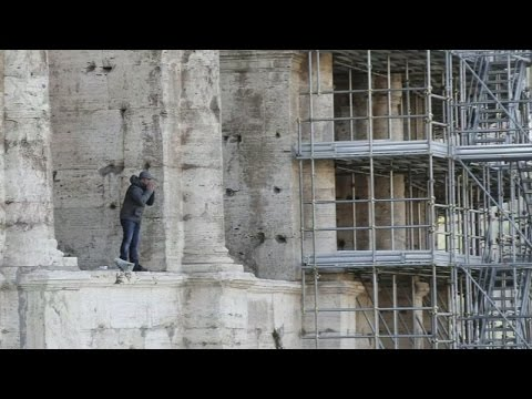 Man scales Colosseum to protest Rome Holy Year crackdown