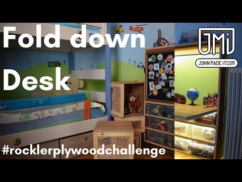 Fold up Desk, shelf with LED and magnets // # Rockler Plywood Challenge