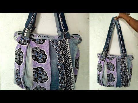 DIY | Convert Old Jeans into a Trendy HandBag | Best Out of Waste Jeans Handbag By Sri Tv