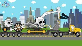 Skeleton Transport Truck Machine | Excavator Road Roller Skeleton | Heavy Transport - Video For Kids